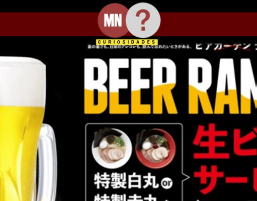 folder promocional de 5 cervejas com 1 tigela de lamen