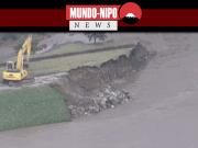 Diques de rios japoneses danificados pelas chuvas