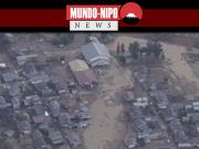 Imagens aéreas da emissora NHK, dos locais afetados pelas inundações