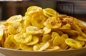 Chips de banana verde assadas