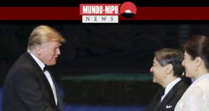 Presidente Donald Trump congratulando o Imperador e a Imperatriz pela ascensão