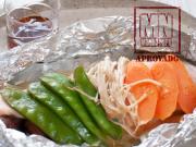 Filés de salmão com molho ponzu e legumes