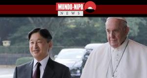 Papa e Imperador Naruhito em uma sessão fotográfica da imprensa