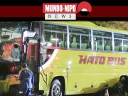 Onibus turistico após colisão em poste