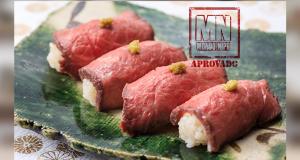 Sushi de carne assada com wasabi