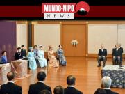 O imperador Naruhito, a imperatriz Masako e outros membros da família imperial ouvem uma palestra de Ano Novo