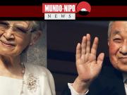 O imperador emérito Akihito e a imperatriz Michiko acenam para simpatizantes durante uma aparição pública