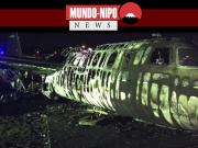 avião pega fogo durante decolagem